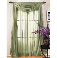 "SHEER / SCARF Window Treatments Curtains Drape Valances 63"" 84"" 95"" SAGE GREEN"