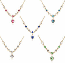 18K Yellow Gold Plated Love Hearts Pendant Necklace made with Swarovski Crystals