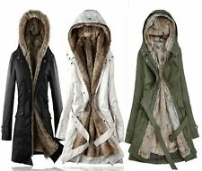 Womens Winter Warm Jacket Ladies Casual Parka Faux Fur Thicken Hooded Coat UK
