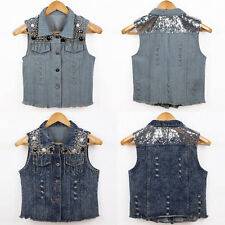 Vintage Casual Womens Punk Jean Vest Sleeveless Jacket Sequins Denim Waistcoat