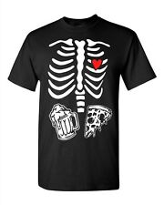 Adult Black Mens Skeleton Maternity Pizza & Beer Funny Humor Costume T-Shirt Tee