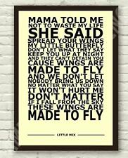 "Little Mix - Wings Typography Lyric Art Poster Print A4 A3 6x4"" 10x15cm"
