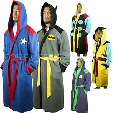 Men's Licensed Marvel DC Comics Books Heroes Embroidered Logo Hooded Bath Robe