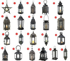 Iron Clear Glass Hanging/Tabletop Candle Laterns Moroccan Bubble Victorian Black