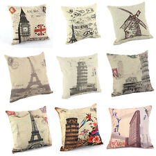 "New Home Decorative Sofa Cushion Cover Throw Pillow Case 18"" Vintage Tower"