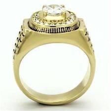 IP Gold Stainless Steel Tarnish Free AAA Cubic Zirconia Mens Ring SIZE 8-13