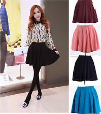 Women lady Candy Color Stretch Waist Plain Skater Flared Pleated Mini Skirt