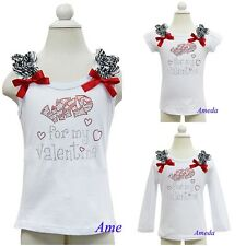 Baby Girls Wild for my Valentine Rhinestone Zebra Ruffles White Tank Top Shirt