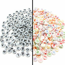 1000 x Mixed Letter Alphabet Beads 7x4mm Fantastic Value Black or Pastel Writing