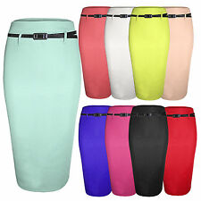 NEW WOMENS LADIES BODYCON STRETCH PENCIL SKIRTS SMART OFFICE BELT KNEE SKIRT