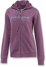 Life is Good Women's Faded Plum Essential Softwash Full Zipitty Hoodie All Sizes