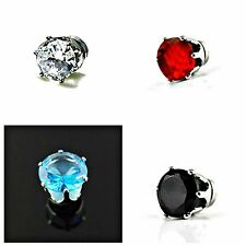 6mm ROUND Clear, Black, Blue, Red MAGNETIC Clip On CZ STUD EARRINGS – Gift Pouch