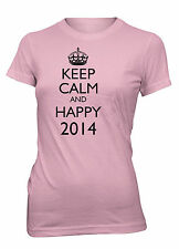 Junior's Keep Calm and Happy 2014 Funny T-Shirt New Year's Eve Party Tee