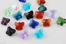 10pcs Charms Faceted Glass Crytal Butterfly Desgin Spacer Finding Beads 14mm