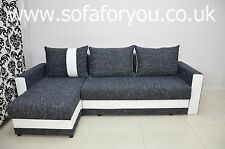 NEW CORNER SOFA BED 'KENT' NEW FABRIC,CHENILLE+FAUX LEATHER TRIM, CUSTOM COLOURS