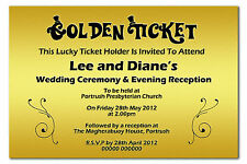 Willy Wonka Golden Ticket Personalised Day & Evening Wedding Invitations Invites