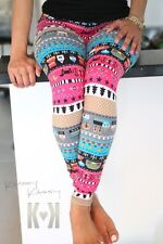 Cowgirl Western Leggings Pink Horse Animal Brown Pant Tights Aztec Tribal +VIDEO