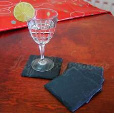 Square Hand Cut Natural Slate Stone Drink Coaster Place Mats Table, Set Of 2 4 8