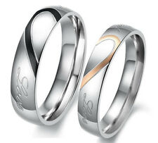 "Couple Heart Stainless Steel Promise Wedding Rings Band ""Real Love"" Ship from US"