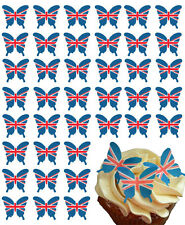 48 X UNION JACK FLAG BUTTERFLY EDIBLE WAFER PAPER CAKE TOPPERS DECORATIONS