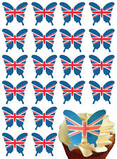 UNION JACK FLAG BUTTERFLY EDIBLE WAFER PAPER CAKE TOPPERS  PARTY DECORATIONS