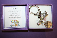 Mum Mummy LUCKY SIXPENCE KEEPSAKE ANGEL CHARM KEYRING BIRTHDAY Gift Box PRESENT