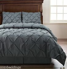 Emerson Charcoal GRAY 4pc Pinched Pleat Comforter Set - Full Queen King Cal-King