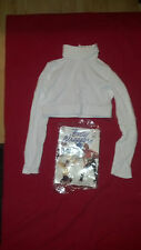 Body Wrappers Adult #206 Long Sleeve Midriff Turtleneck Top in White and Navy