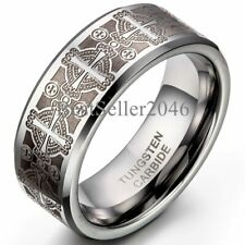 8mm Men's Tungsten Carbide Ring Comfort Fit Flat Silver Laser Etched Cross Band