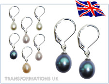 GENUINE FRESHWATER PEARL - DROP DANGLE EARRINGS - SILVER LEVER CLASP - 4 COLOURS