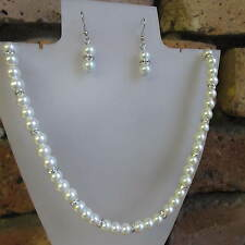 Beautiful Elegant Glass Pearl & Diamante Necklace with Matching Earrings
