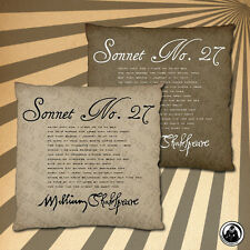 Shakespeare Sonnet No. 27 Two Sided Cushion Cover (Two Colour Choices)