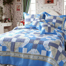 DaDa Bedding Abstract Star Cotton Quilt Set Twin / Queen / King Patchwork Blue