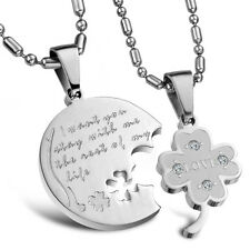 Pair I Want You Stay with Me the Rest of My Life Lucky Clover Pendant US Seller