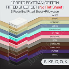 1000TC EGYPTIAN COTTON AUS Size Fitted Sheet,Pillowcase Set(No Flat Sheet)