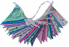 Double sided fabric bunting weddings baby's christenings parties birthdays fetes