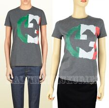 GUCCI TOP GRAY ITALY GG FLAG COLLECTION T-SHIRT COTTON JERSEY INTERLOCKING LOGO
