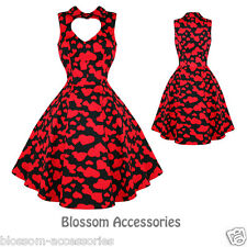 RKH5 Hearts and Roses H&R Red Heart Valentines Vintage 50s Prom Rockabilly Dress