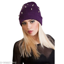 GORGEOUS LADIES FASHIONABLE SKULL SPIKE STUDDED WINTER SLOUCH BEANIE HAT