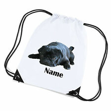 Personalised Gym/PE Swimming/School/Shoe Bag. Black Pug Dog Design.  Named