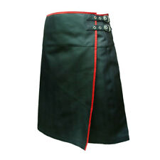 Mens Black Leather Pleated LARP Utility Kilt Flat Front Pocket Wrap Style (K9)