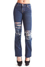 J Brand Distressed Torn Blue Boot Leg Jeans 318 CRY