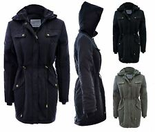 NEW LADIES WINTER PADDED QUILT DETAIL HOODED ZIP FISHTAIL PARKA COAT SIZES 10-18