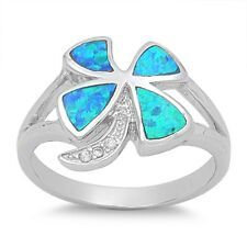 .925 Sterling Silver Blue Opal Four Leaf Clover Ring RO120
