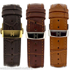Hirsch DUKE Leather Watch Strap - BROWN, GOLD BROWN or HONEY & Deployment clasp