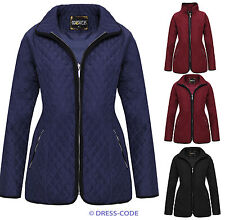 NEW LADIES PADDED ZIP QUILTED JACKET WOMENS COAT PLUS SIZES 8-20