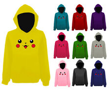 Mens Pikachu Pokemon Character Face Pullover Hoodie NEW UK XS-XXL
