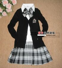 J581 CHECK DRESS LOLITA COSPLAY GOTHIC PLEATED SCHOOL GIRL UNIFORM SWEATER PANT