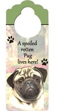 Pug Sign  Fawn or Black Dog Breed  Wood  Plaque Home Gift Pet Picture Print