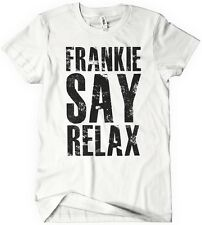 Womens FRANKIE SAY RELAX T-Shirt Funny Retro GOES TO HOLLYWOOD 80s Music Tee